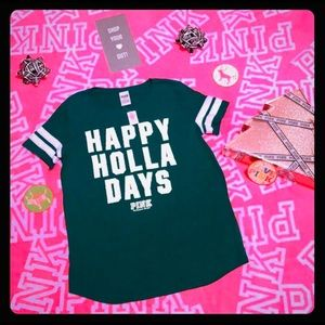 💕PINK VS Happy Holla Days Tee NWT💕